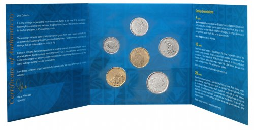 Fiji 5 Cents - 2 Dollars 6 Pieces Coin Set, 2012, KM #332-337, In Holder, Mint