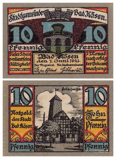 Kosen Bad 10 - 50 Pfennig 5 Pieces Notgeld Banknote Set, 1921 Mehl #734, UNC
