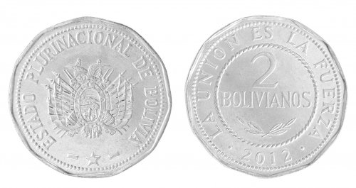Bolivia 10 - 50 Centavos & 1 - 5 Bolivianos, 6 Pieces Coin Set, 2012, Mint