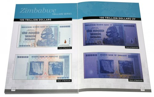 Zimbabwe BNW Bearer Cheque Trillion Series Banknote Booklet, 2006-2008