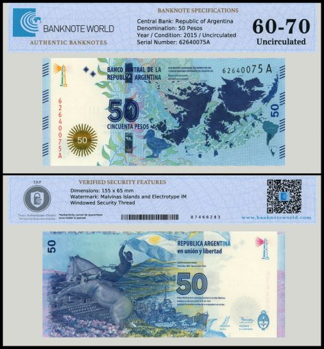 Argentina 50 Pesos Banknote, 2015, P-362, UNC, TAP 60 - 70 Authenticated