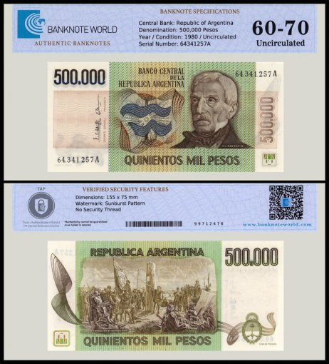 Argentina 500,000 Pesos Banknote, 1980-1983, P-309a, UNC, TAP 60 - 70 Authenticated