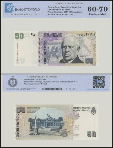 Argentina 50 Pesos Banknote, 1999, P-350, UNC, TAP 60 - 70 Authenticated