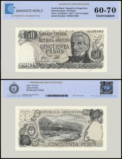 Argentina 50 Pesos Banknote, 1977, P-301a, UNC, TAP 60 - 70 Authenticated
