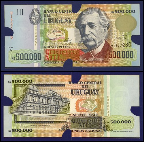 Uruguay 1,000 - 50,0000 Nuevos Pesos 9 Piece Full Set, 1989-1992, P67-73 UNC, Folder