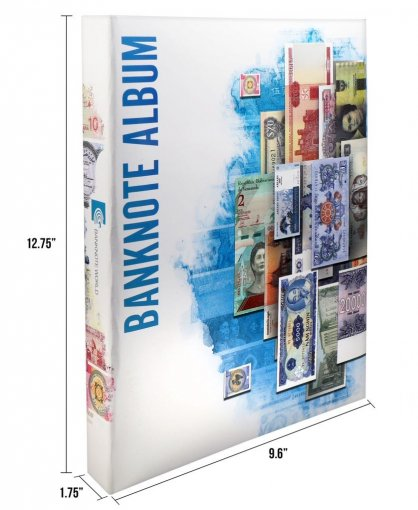 "Banknote World Currency Collecting Album with 103 pockets and 100 banknotes, 12.75"" L x 1.75 W x 9.6"" H  (Banknotes are included, ready to insert in sleeves) Dimensions: 12.75"" L x 1.75 W x 9.6"" H"