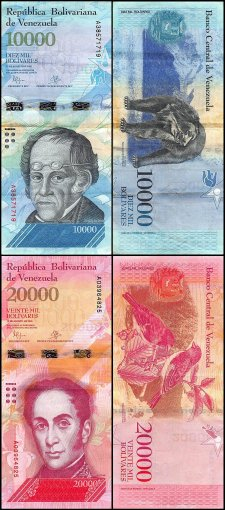 Venezuela 2 - 100,000 Bolivar Fuerte 13 Pieces Set, 2007-2017, Used
