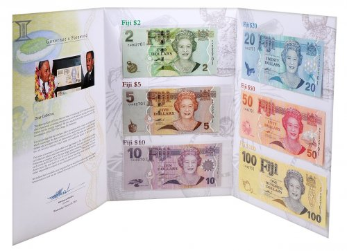 Fiji 2 - 100 Dollars 6 Pieces Set, 2007, P-109-114, Matching Serial #, UNC