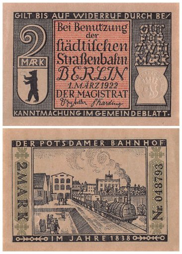Berlin 10 Mark 10 Pieces Notgeld Banknote Set, 1922, Mehl #92.2, UNC