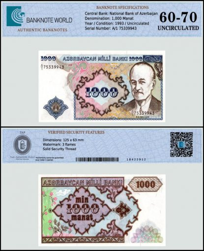 Azerbaijan 1,000 Manat Banknote, 1993, P-20a, UNC, TAP 60-70 Authenticated