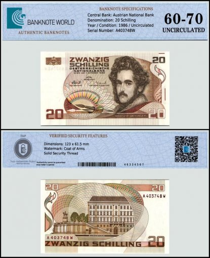 Austria 20 Schillings Banknote, 1986, P-148a, UNC, TAP 60 -70 Authenticated