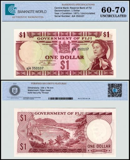 Fiji 1 Dollar Banknote, 1971, P-65b, UNC, TAP 60-70 Authenticated