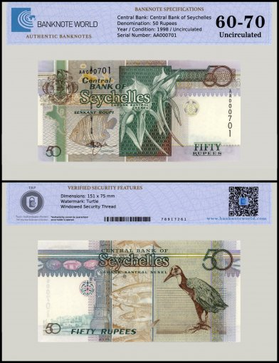 Seychelles 50 Rupees Banknote, 1998, P-38, UNC, TAP 60 - 70 Authenticated