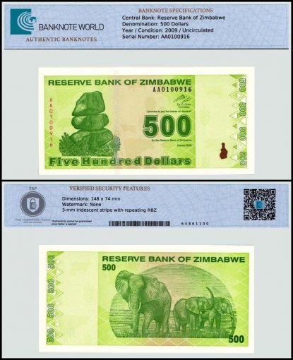 Zimbabwe 500 Dollars Banknote, 2009, P-98, UNC, TAP 60-70 Authenticated