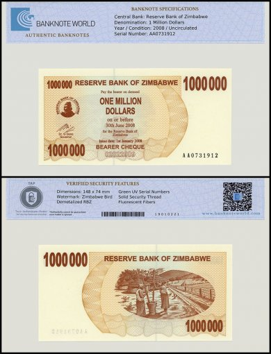 Zimbabwe 1 Million Dollars Bearer Cheque, 2008, P-53, UNC, TAP Authenticated