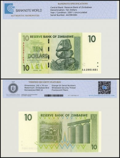 Zimbabwe 10 Dollar Banknote, 2007, P-67, UNC, TAP Authenticated