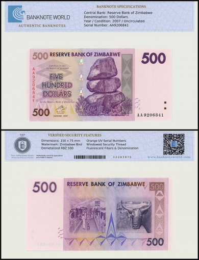 Zimbabwe 500 Dollar Banknote, 2007, P-70, UNC, TAP Authenticated