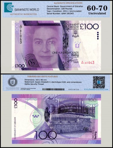 Gibraltar 100 Pounds Banknote, 2011, P-39, UNC, TAP 60 - 70 Authenticated