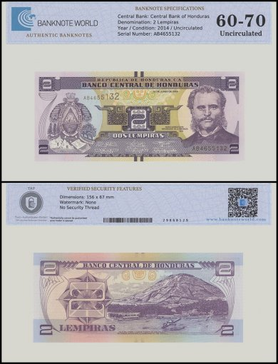 Honduras 2 Lempiras Banknote, 2014, P-97, UNC, TAP 60 - 70 Authenticated