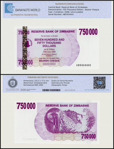 Zimbabwe 750,000 Dollars Bearer Cheque, 2007, P-52, UNC, TAP Authenticated
