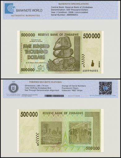 Zimbabwe 500,000 Dollar Banknote, 2008, P-76, UNC, TAP Authenticated