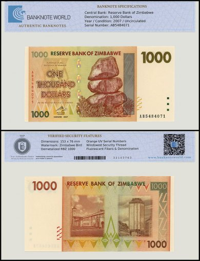 Zimbabwe 1,000 Dollar Banknote, 2007, P-71, UNC, TAP Authenticated