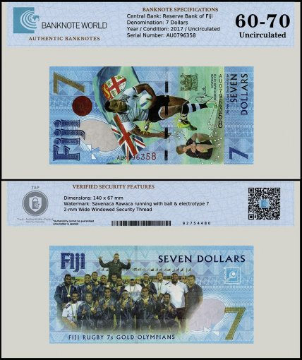 Fiji 7 Dollars, 2016, P-NEW, UNC, TAP 60 - 70 Authenticated