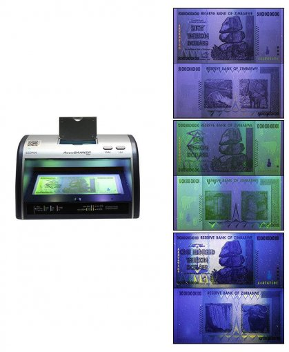 AccuBANKER Counterfeit Currency & Money Detector, 10, 50, 100 Trillions Zimbabwe