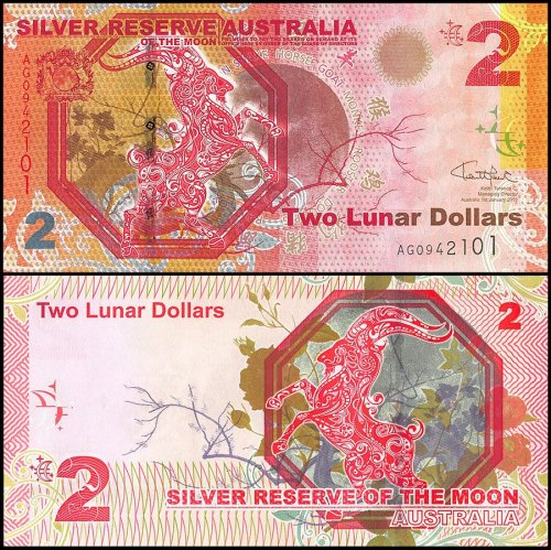 Australia 2 Lunar Dollar Novelty / Fantasy Banknote (Silver Reserve of the Moon), 2015, P-NEW, UNC