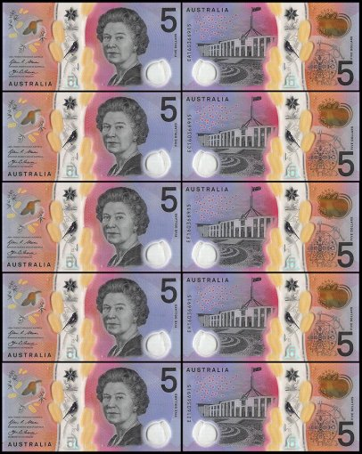 Australia 5 Dollars 5 Piece Matching Serial # 160366915 Set , 2016, P-62 UNC, Polymer, Queen Elizabeth II