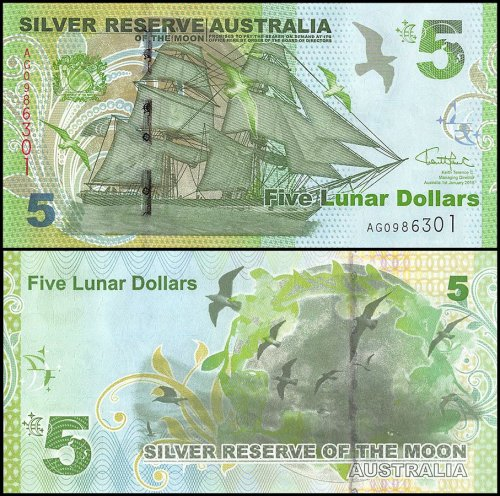 Australia 5 Lunar Dollar Novelty / Fantasy Banknote (Silver Reserve of the Moon), 2015, P-NEW, UNC