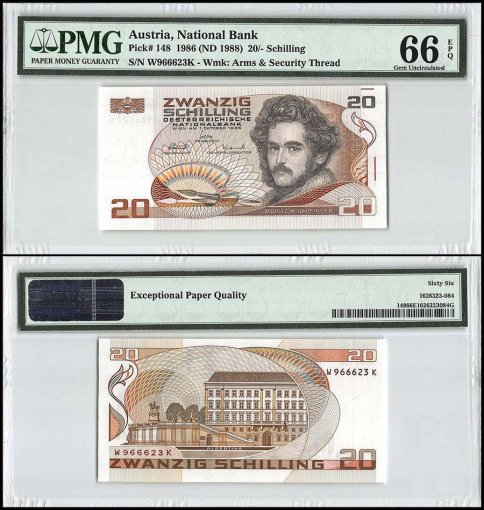 Austria 20 Schillings, 1986 - ND 1988, P-148, Security Thread, PMG 66