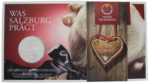 "Austria ""Salzburg"" 10 Euro 17.30g Silver Proof Coin, 2014, Mint, By It's Children"
