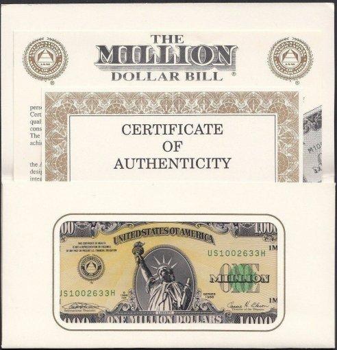 Authentic I.A.M. One 1 Million United States - USA Dollars Novelty / Fantasy Banknote, 1988, Suffix H