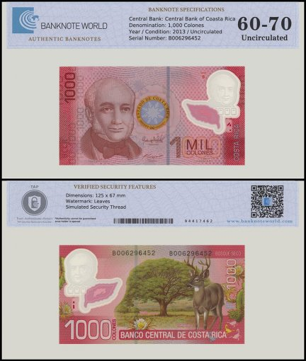Costa Rica 1,000 Colones Banknote, 2013, P-274, Series B, UNC, TAP 60 - 70 Authenticated
