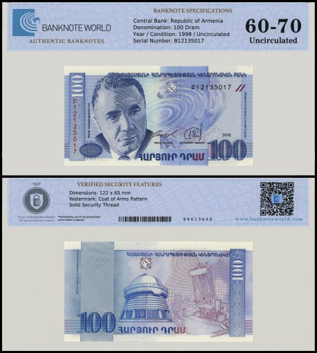 Armenia 100 Dram Banknote, 1998, P-42, UNC, TAP 60-70 Authenticated