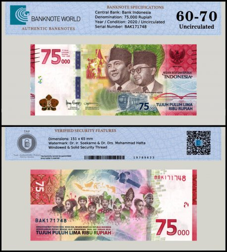 Indonesia 75,000 Rupiah Banknote, 2020, P-NEW, UNC, TAP 60 - 70 Authenticated