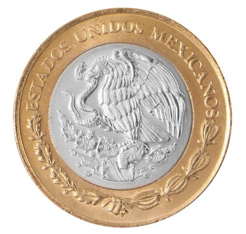 Mexico 10 Pesos 10.33 g Bi-Metallic Coin, 2009, KM # 616, Golden Eagle,Sun Stone