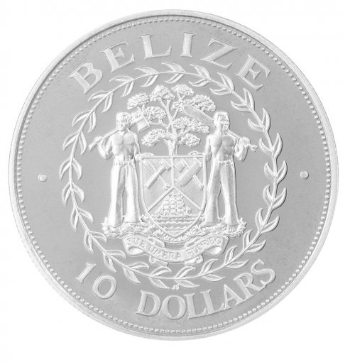 Belize 10 Dollars Silver Coin, 1998, KM # 130, Mint, University of West Indies