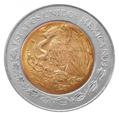 Mexico 2 Pesos 5.19g Bi-Metallic Coin, 2009, KM # 604, Golden Eagle