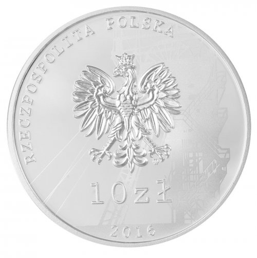 Poland 10 Zlotych 14g Silver Proof Coin, 2016, Mint, 35th Anniversary Coal Mine