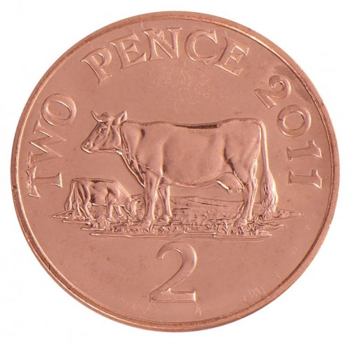 Guernsey 2 Pence 7.12 g Copper Plated Steel Coin, 2011, KM # 96, Mint, Queen Elizabeth II, Cows