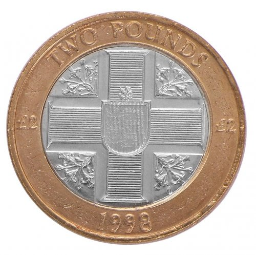 Guernsey 2 Pounds 12g Bimetallic Coin, 1998, KM # 83, Mint, Queen Elizabeth II, Cross
