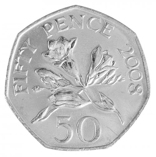 Guernsey 50 Pence 8g Copper Nickel Coin, 2008, KM # 156, Mint, Queen Elizabeth II, Plants
