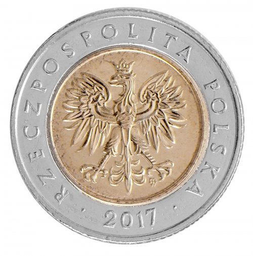 Poland 5 Zlotych 6g Bi-Metallic Coin, 2017, Y # 284, Mint, Warsaw, Eagle