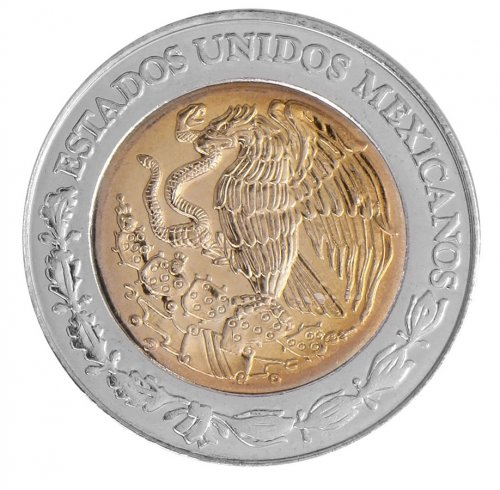 Mexico 5 Pesos 7.07g Bi-Metallic Coin, 2008, KM # 605, Golden Eagle