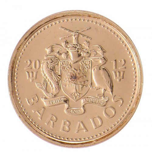 Barbados 5 Cents 3.75g Brass Plated Steel Coin, 2012, KM # 11a, Mint