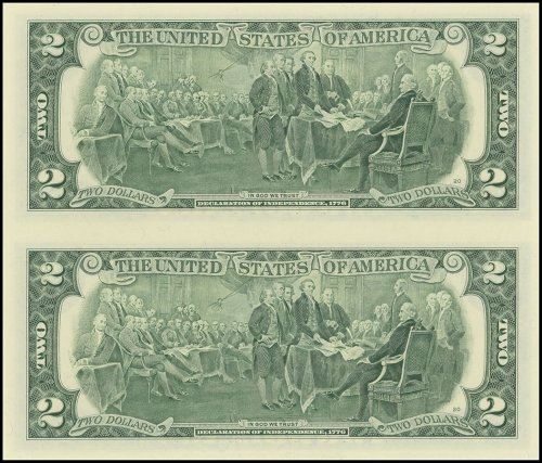 Unites States of America - USA 2 Dollars, Limited Edition Banknote Folder, 2009, P-530A, UNC, 2 Piece Uncut Sheet