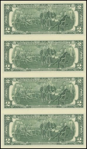United States of America - USA 2 Dollars, Limited Edition Banknote Folder, 2009, P-530A, UNC, 4 Piece Uncut Sheet