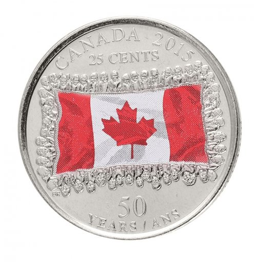Canada 25 Cents 4.4 g Nickel Plated Steel Coin, 2015, KM # 1851.1, Mint